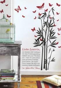Eine echte Freundin: Auf der ersten Seite des Magazins wird der Frühling mit unserem Bambus & roten Edelfaltern eingeläutet.