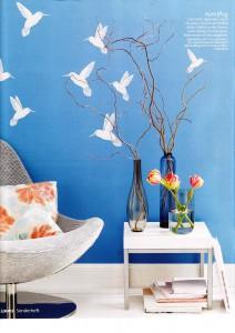 Ihr neuer Schwarm: Unsere Kolibis. Mit nur 8 Wandsticker-Vögeln lässt sich eine ganze Wand aufmöbeln.