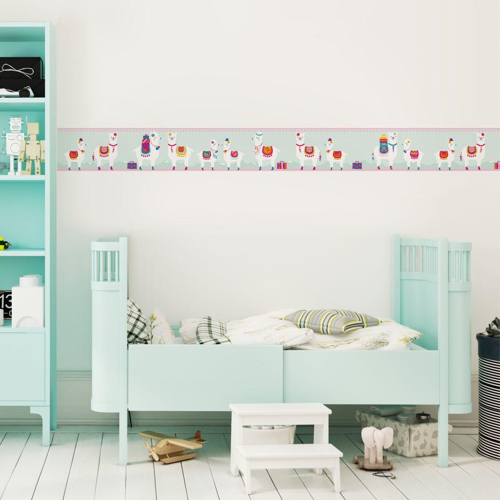 lovely label Bord/üre selbstklebend Einhorn ROSA//Mint Wanddeko Baby//Kinder Wandtattoo Schlafzimmer M/ädchen /& Junge Wandbord/üre Kinderzimmer//Babyzimmer mit Einh/örnern und Sternen
