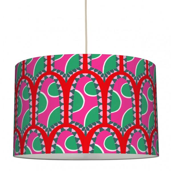 "Stoff-Lampenschirm ""African Pattern"" Pink/Rot/Grün 30 x 20 cm"