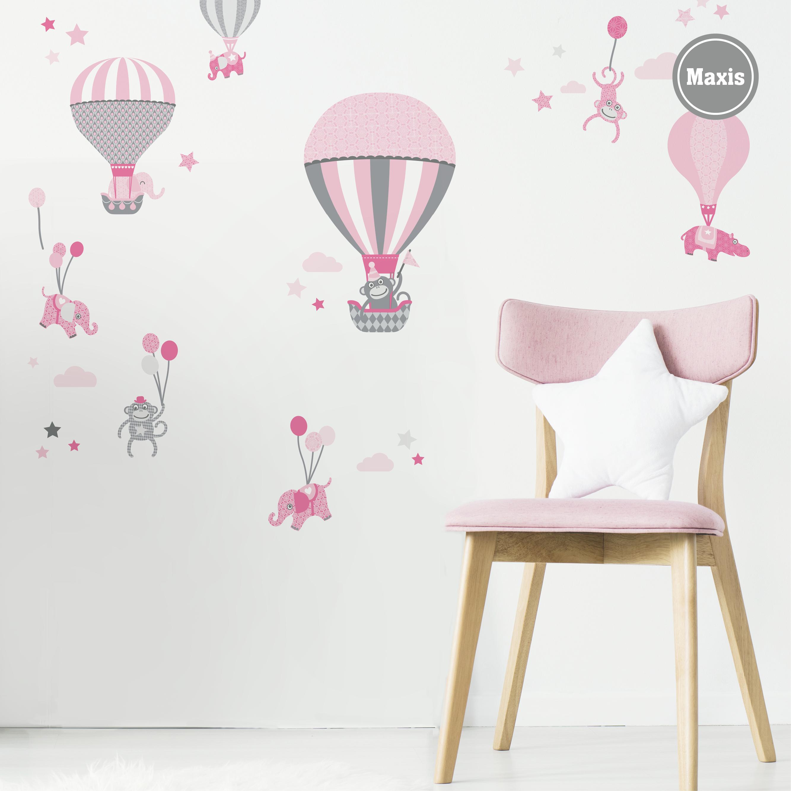 """Wandtattoo """"Hot Air Balloons"""" Rosa/Grau"""