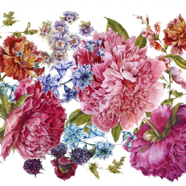 """Selbstklebende Bordüre """"Blumen Vintage"""" Rosa/Pink/Grün auf Weiss"""