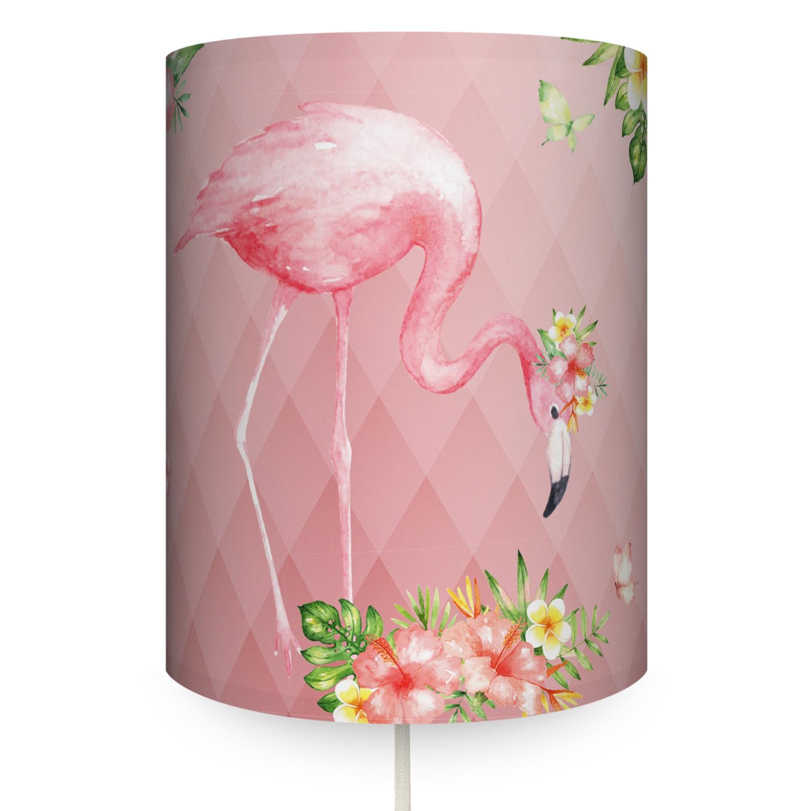 """Runde Wandlampe """"Jolly Jungle Flamingo"""" Rosa"""