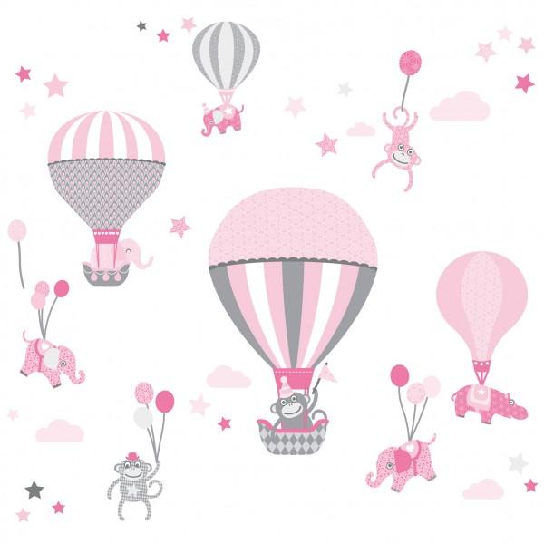 "Wandtattoo ""Hot Air Balloons"" Rosa/Grau | Wandtattoos für Mädchen ..."