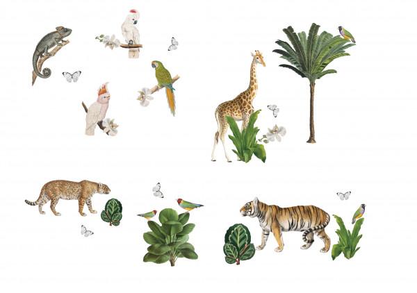 anna wand Dschungel Sticker wandsticker wandtattoos tiere tiger giraffe chamäleon junge boy mädchen kinderzimmer.