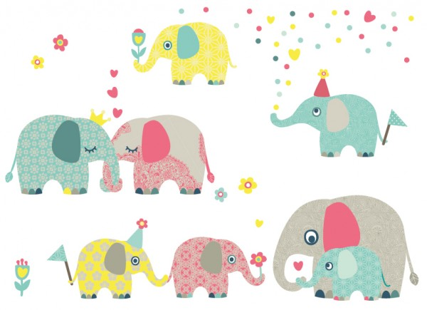 """anna wand Wandtattoo Kinderzimmer """"Elefanten"""" selbstklebend - Junge & Mädchen - Rot/Blau/Grau"""