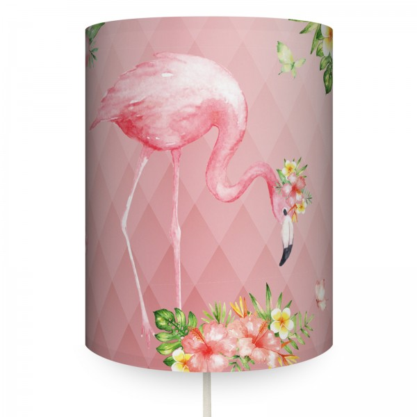 "Runde Wandlampe ""Jolly Jungle Flamingo"" Rosa"