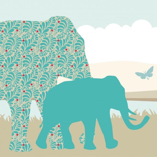"""anna wand Bordüre/Borte Kinderzimmer Tiere Elefanten """"Elefant"""" - Junge & Mädchen – Blau/Gelb"""