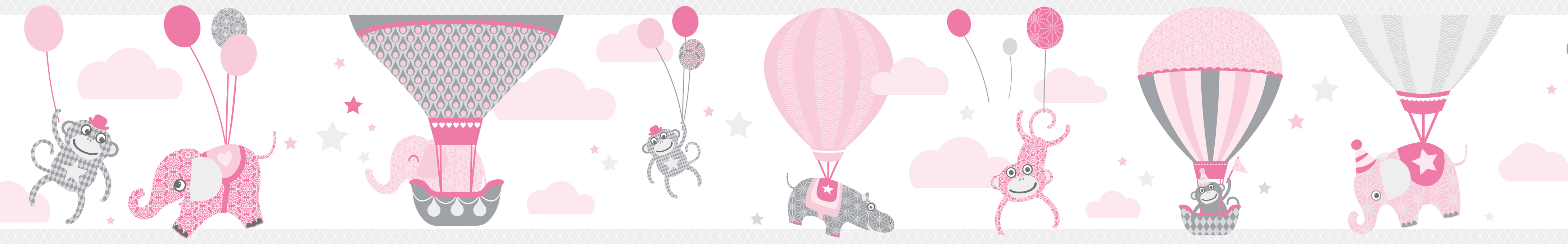 Selbstklebende Bordure Hot Air Balloons Heissluftballons Rosa
