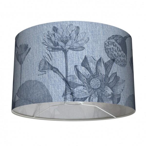 """Tisch- und Stehleuchten-Lampenschirm """"Jeans & Flowers"""" Seerosen Blau 30 cm"""
