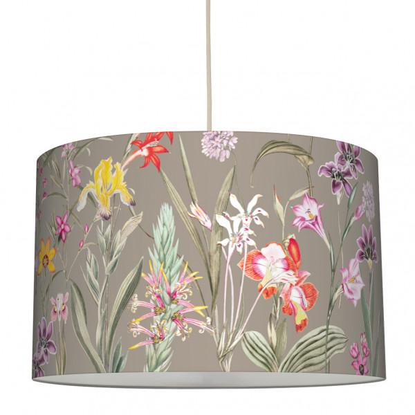 anna wand lampe hängelampe lampenschirm blumen blumenmuster garten taupe wohnzimmer küche flur