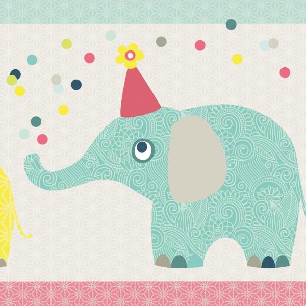 "anna wand Bordüre, Kinderzimmer ""Elefant Familie"" - Junge & Mädchen - Rot/Blau/Beige"