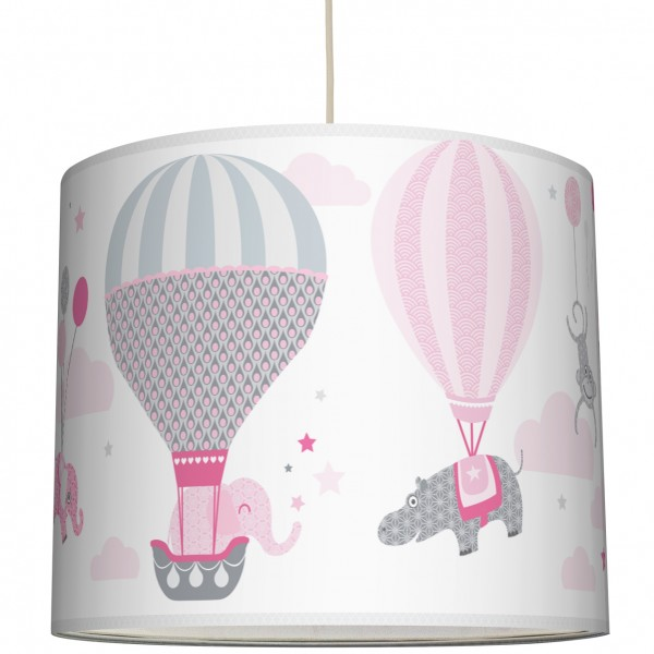 "Lampenschirm Kinder ""Hot Air Balloons"" Rosa/Grau"