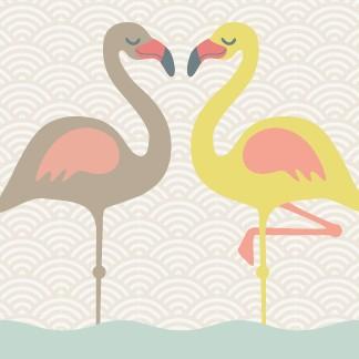 """anna wand Bordüre, Kinderzimmer """"Flamingo"""" - Junge & Mädchen - Gelb/Blau/Beige"""