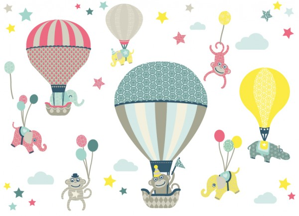 "anna wand Wandtattoo Kinderzimmer ""Heißluftballon"" selbstklebend - Junge & Mädchen - Blau/Grau/Rot"