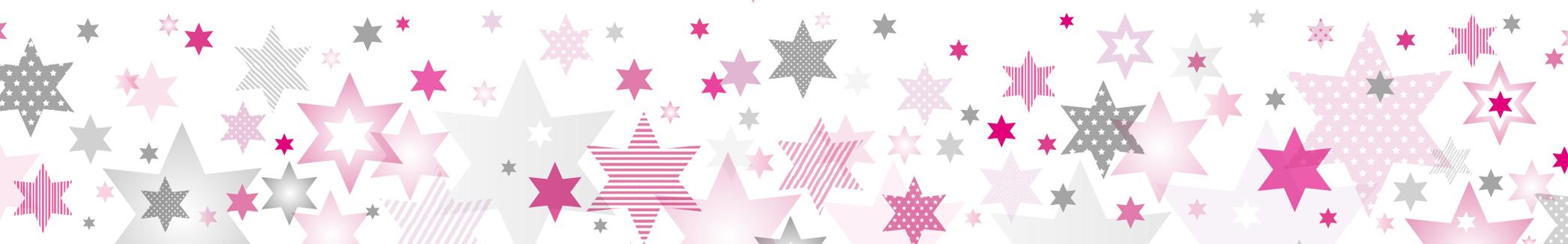 "Selbstklebende Bordüre ""Stars 4 Girls"" Rosa/Grau"