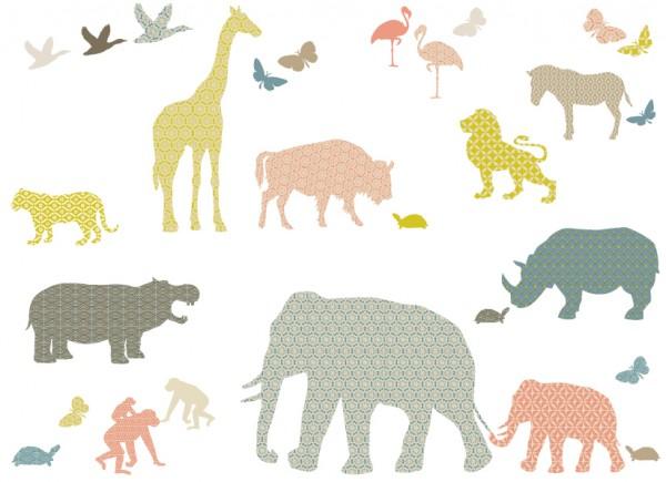 """anna wand Wandtattoo Kinderzimmer """"Dschungeltiere"""" selbstklebend - Junge & Mädchen - Pastell/Grau"""