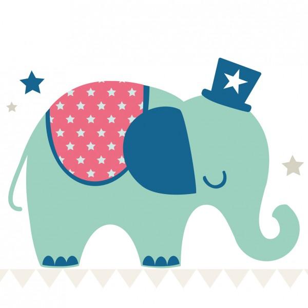 """anna wand Tapete, Fototapete Kinderzimmer """"Elefant"""" - Junge & Mädchen - Blau/Grün"""