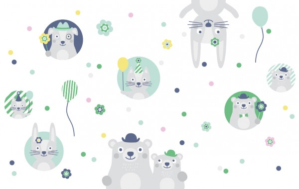 """anna wand Wandtattoo Kinderzimmer """"Tiere"""" selbstklebend - Junge & Mädchen - Grün/Grau"""