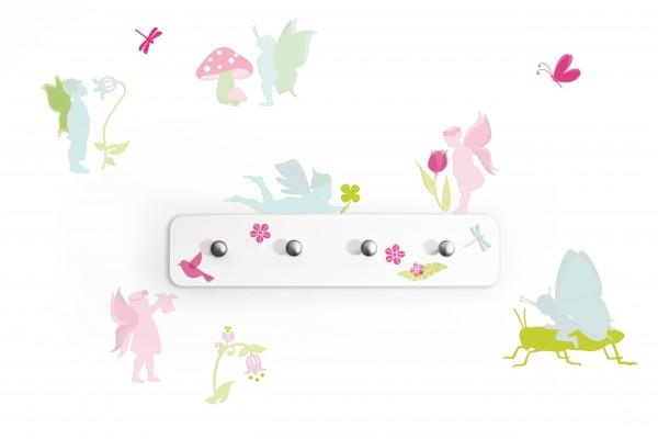"anna wand Garderobe Wandtattoo ""Fee Elfe"" - Wandgarderobe Kinderzimmer Mädchen & Junge - Pastell"