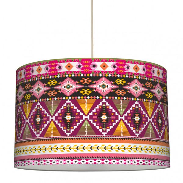 anna wand lampe hängelampe lampenschirm mädchen mädchenzimmer boho ethno aztekenmuster girl rot rosa gelb