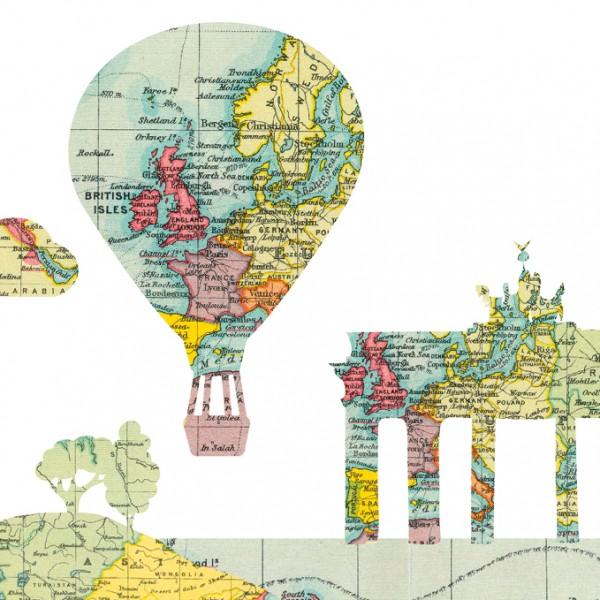 "anna wand Bordüre, Kinderzimmer ""Heißluftballons"" Weltkarte, Flugzeug - Junge & Mädchen - Grün/Gelb"