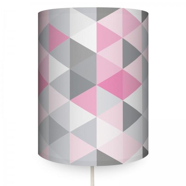 "Runde Wandlampe ""Dreiecke"" Rosa/Grau"