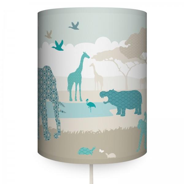 """anna wand Wandlampe, Wandleuchte Kinderzimmer """"Dschungeltiere"""" - Junge & Mädchen - Beige/Blau"""