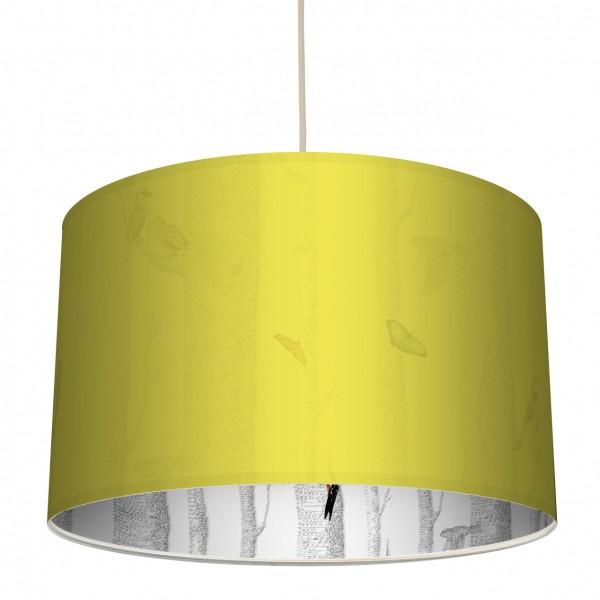 "Stoff-Lampenschirm ""Birkenstämme"" Gelb/Mehrfarbiger Innendruck"