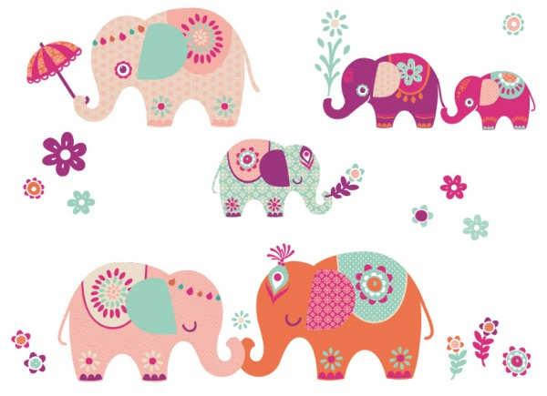 "anna wand Wandtattoo Kinderzimmer ""Elefanten"" selbstklebend - Junge & Mädchen - Rosa"