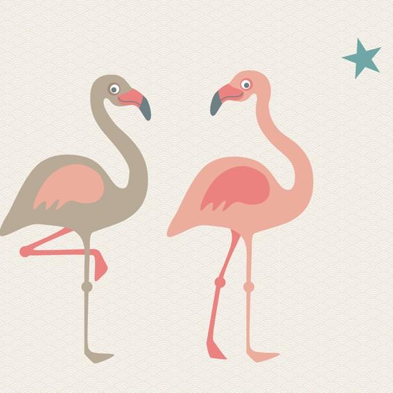 "Tapetenwandbild /Fototapete ""Funny Flamingos"" 186 x 270 cm"