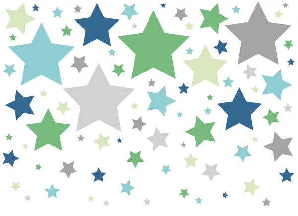 """anna wand Wandtattoo Kinderzimmer """"Sterne"""" selbstklebend - Junge & Mädchen - Blau/Grau"""