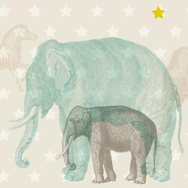 """anna wand Bordüre, Kinderzimmer """"Tiere Afrika"""" - Junge & Mädchen -Blau/Beige"""