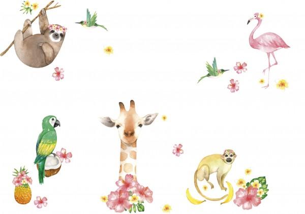 """anna wand Wandtattoo Kinderzimmer """"Dschungel"""" selbstklebend - Junge & Mädchen - Rosa/Gelb/Grün"""