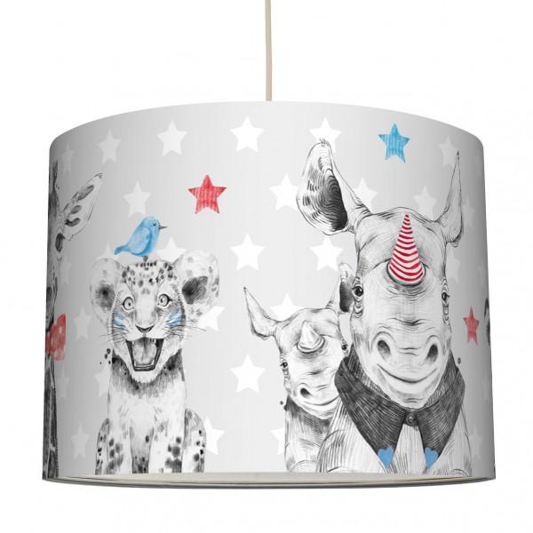 anna wand haengelampe lampenschirm lampe leuchte babyzimmer junge mädachen grau tiger elefant zebra nashorn
