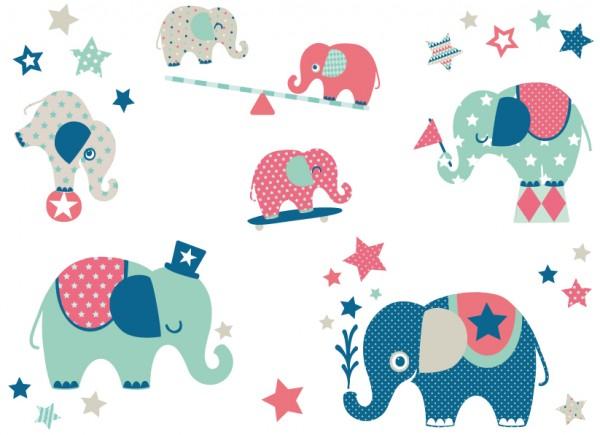"anna wand Wandtattoo Kinderzimmer ""Elefant"" selbstklebend - Junge & Mädchen - Blau/Grau"