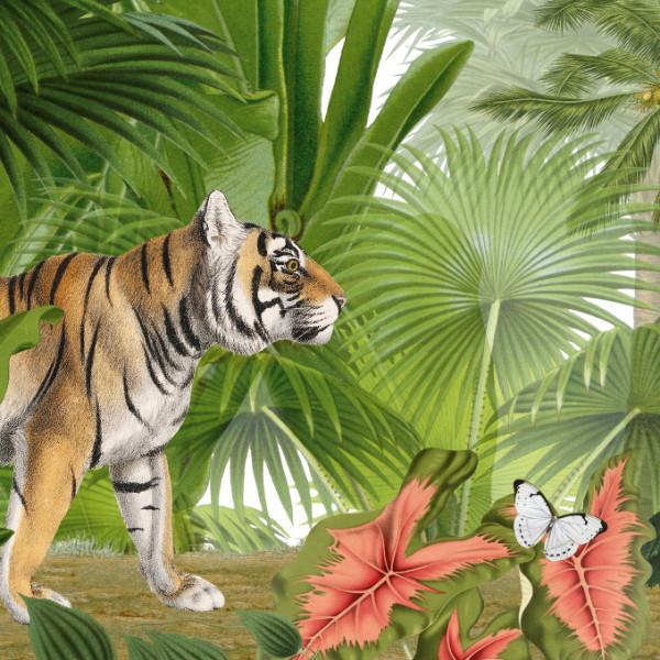 anna wand Bordüre Wandbordüre Borte Dschungel Tiger exotisch Tiere Kinderzimmer Junge Mädchen grün