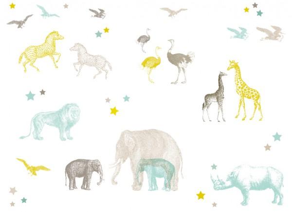 """anna wand Wandtattoo Kinderzimmer """"Tiere Dschungel"""" selbstklebend - Junge & Mädchen - Blau/Grau/Gelb"""