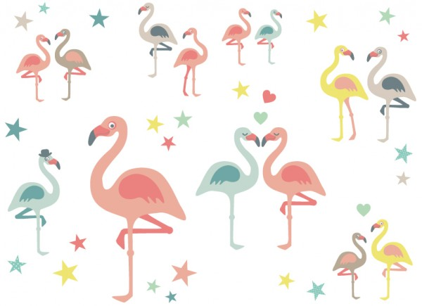 "anna wand Wandtattoo Kinderzimmer ""Flamingo"" selbstklebend - Junge & Mädchen - Rosa/Blau/Grau"