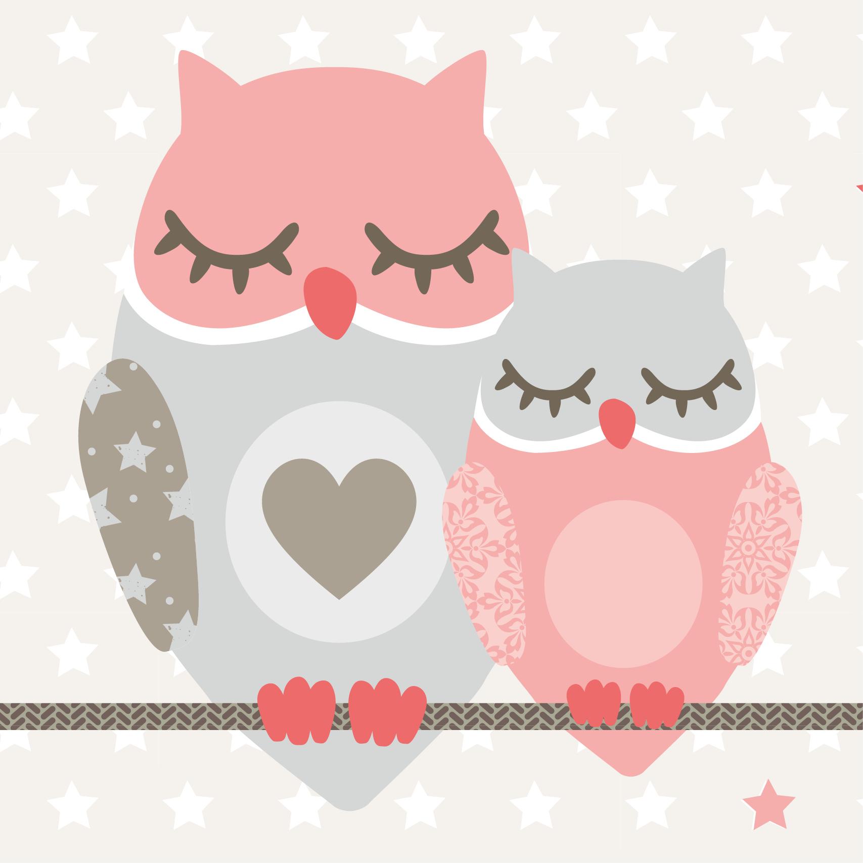 Selbstklebende Bordure Owl Stars Girls Apricot Taupe Borduren