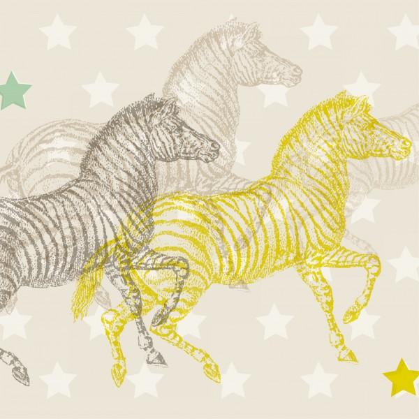 """anna wand Bordüre, Kinderzimmer """"Zebra"""" Afrika - Junge & Mädchen - Gelb/Blau/Beige"""