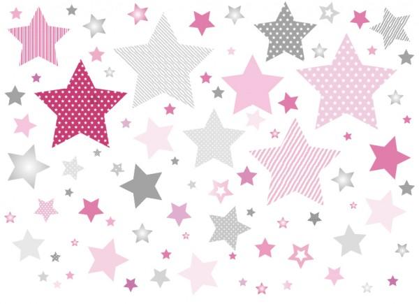 "anna wand Wandtattoo Kinderzimmer ""Sterne"" selbstklebend - Junge & Mädchen - Rosa/Grau"