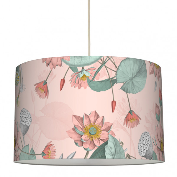anna wand lampe hängelampe lampenschirm blumen wohnzimmer küche flur seerosen.