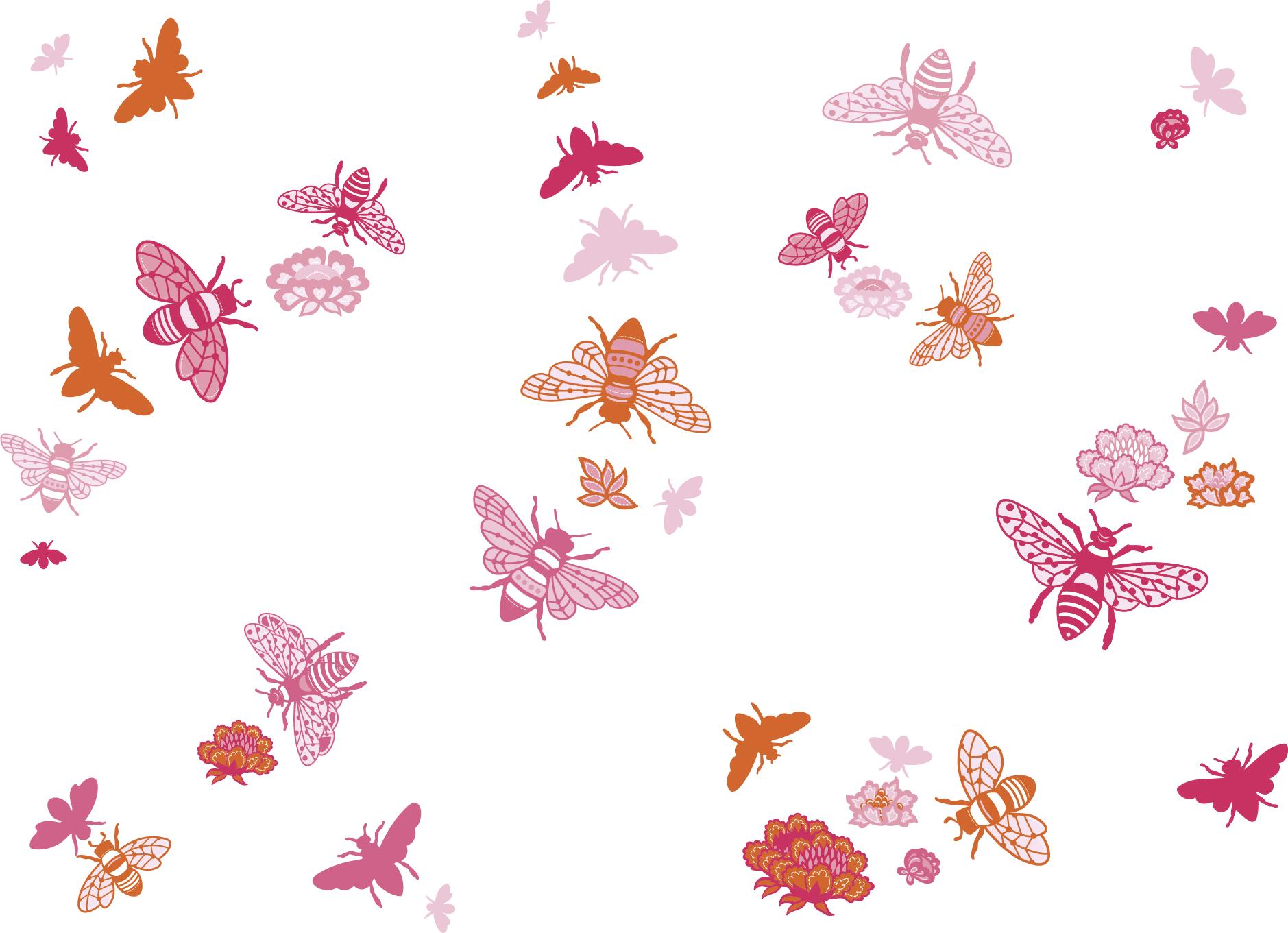 "Wandtattoo Bienen ""Bee at home"" Rosa/Orange/Pink"