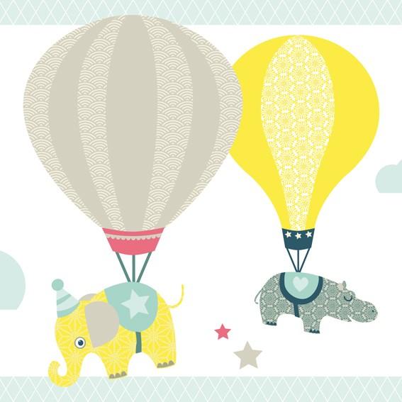 "anna wand Bordüre Kinderzimmer ""Heißluftballon"" Tiere selbstklebend - Junge & Mädchen - Taupe/Blau/Mint"