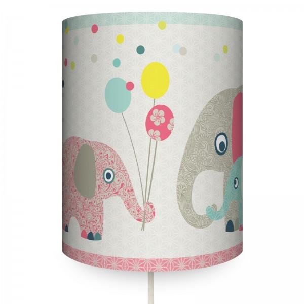 "anna wand Wandlampe, Wandleuchte Kinderzimmer ""Elefanten Tiere"" - Junge & Mädchen - Rot/Blau/Beige"