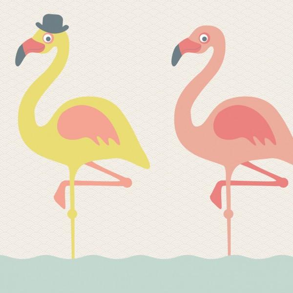 """anna wand Bordüre, Kinderzimmer """"Flamingo"""" - Junge & Mädchen - Rosa/Gelb/Beige"""