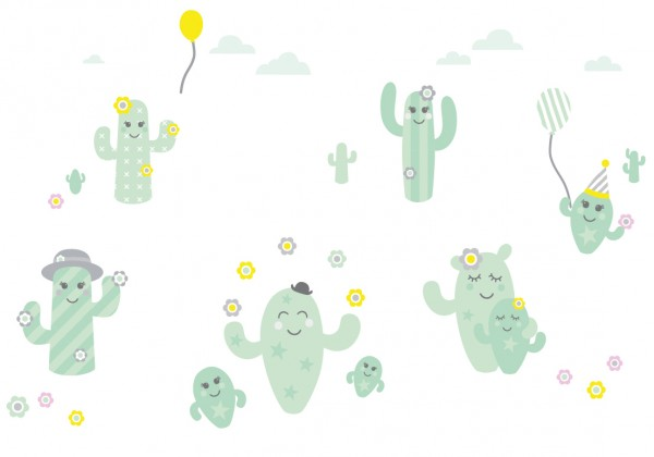 "Wandsticker mit Kaktus & Kakteen ""Family Cactus"" Mint/Grau/Gelb"