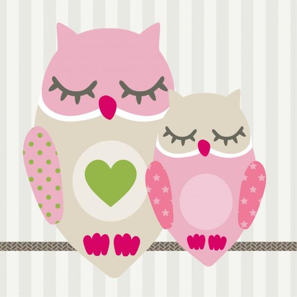 "anna wand Bordüre/Borte, Kinderzimmer Vögel, Tiere, Eulen ""Owls"" - Junge & Mädchen – Grau/Pink/Grün"