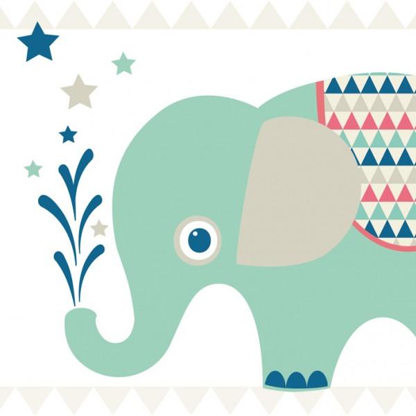 "anna wand Bordüre Kinderzimmer Tiere Elefanten ""Elefanten Boys"" selbstklebend - Junge & Mädchen - Rot/Grün"